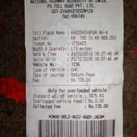 National Highways Authority Of India [Nhai] — wrong receipt