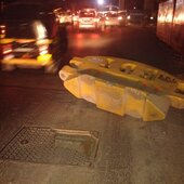 broken manhole ahead of fire brigade and in front of womens hostel sclr