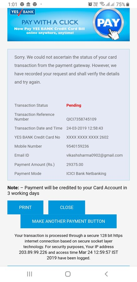 Billdesk Urgent Issue With The Transaction Of To Yesbank