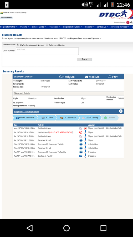 Resolved] DTDC Courier & Cargo — wrong destination pincode in tracking