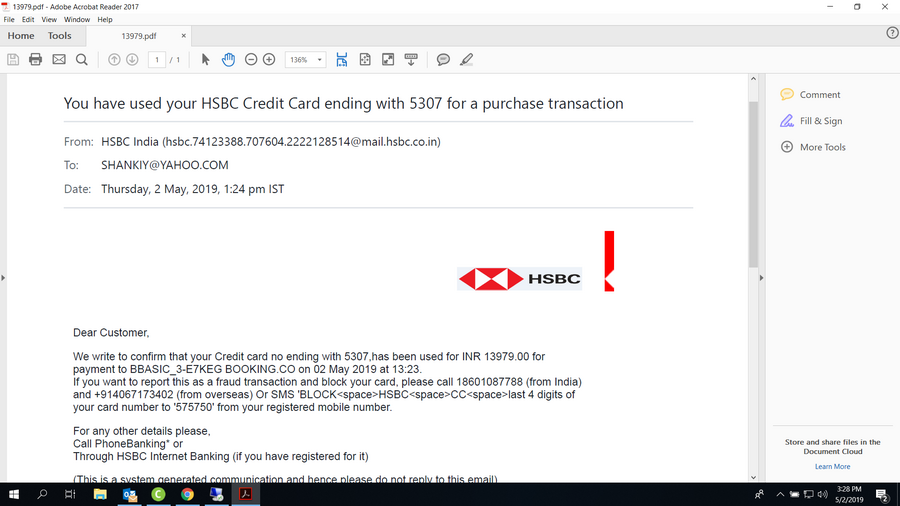 Hongkong & Shanghai Banking Corporation [Hsbc] — credit card fraud