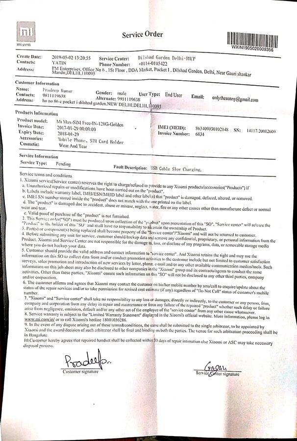 Resolved] Xiaomi India — complaint regarding my handset dead by