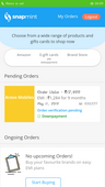 downpayment on snapmint is successful but still the order is pending