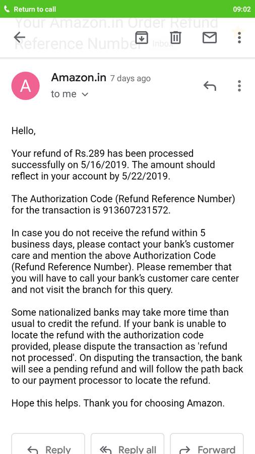 Amazon — refund not initiated
