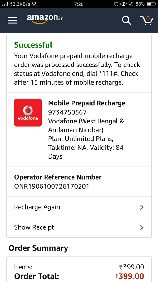 Vodafone India — recharge on wrong number