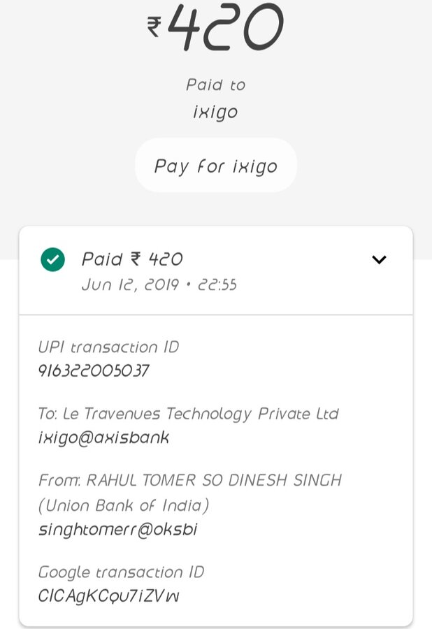 Resolved] Ixigo — train ticket issue