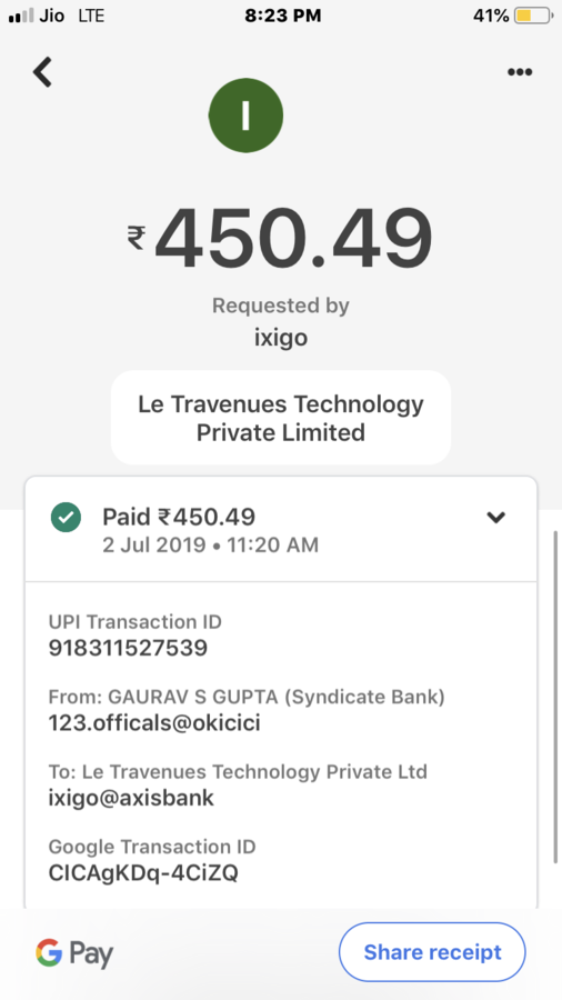 Ixigo — train tatkal ticket is not booked but payment deducted of