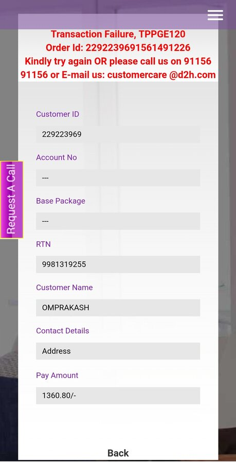 Videocon Industries — videocon d2h refund not processed