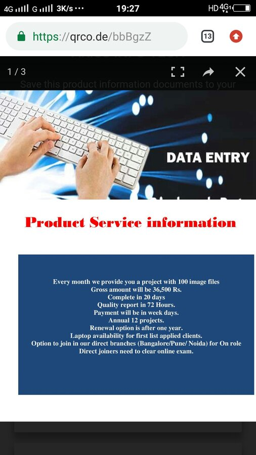 Ariss Infotech Hyderabad — data entry work and asking for money