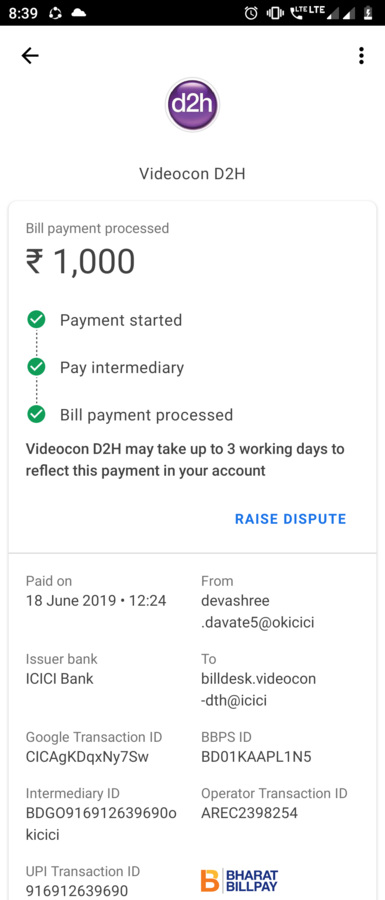 Videocon D2H — payment not received