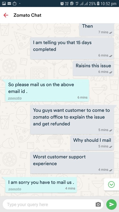 Zomato — food order number [protected] refund not received