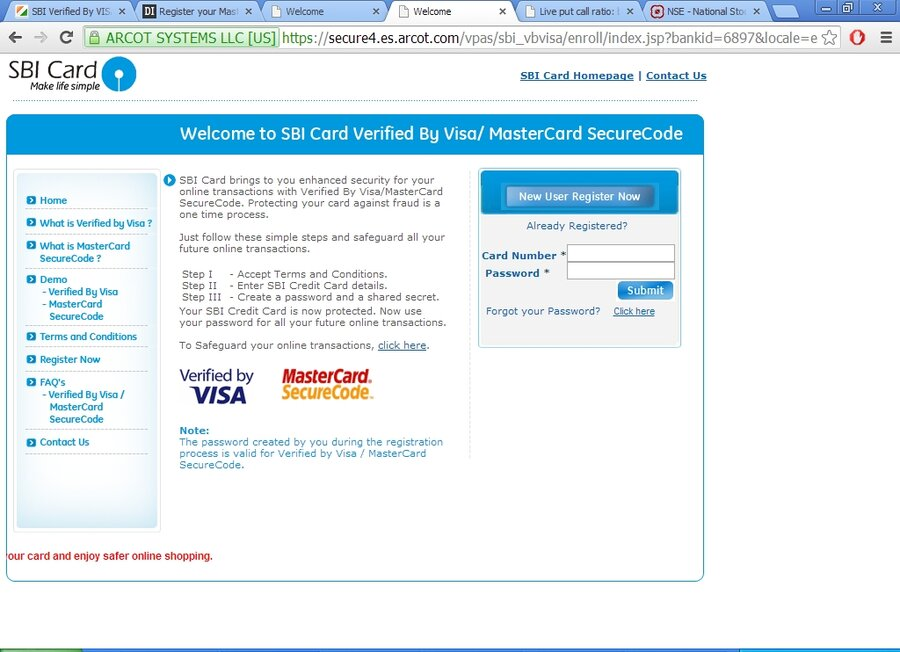 SBI Verified By VISA Service — Cannot Register Debit Card
