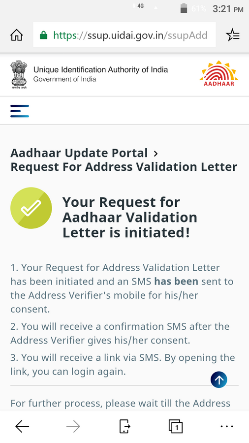 Unique Identification Authority Of India [UIDAI] — srn not send for