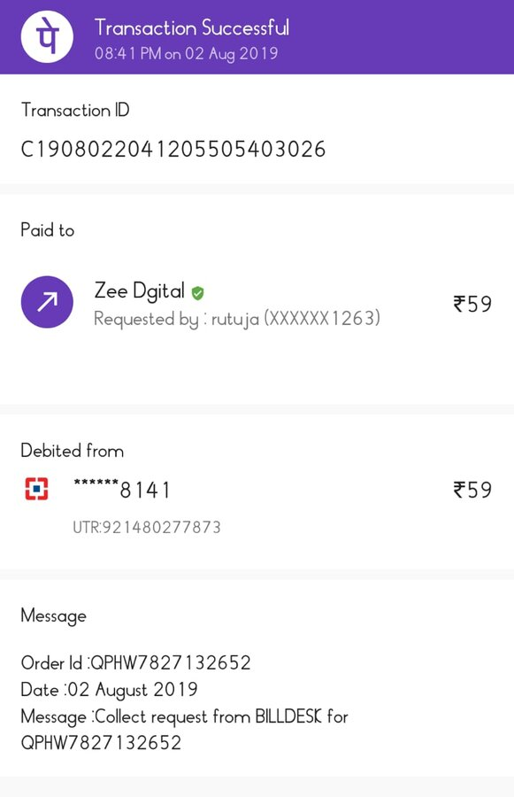 Zee Tv — paid for subscription via payment app but still not