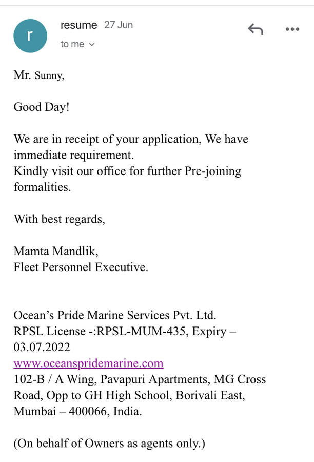 Oceans Pride Marine Services Pvt Ltd — got cheated of rs 75k