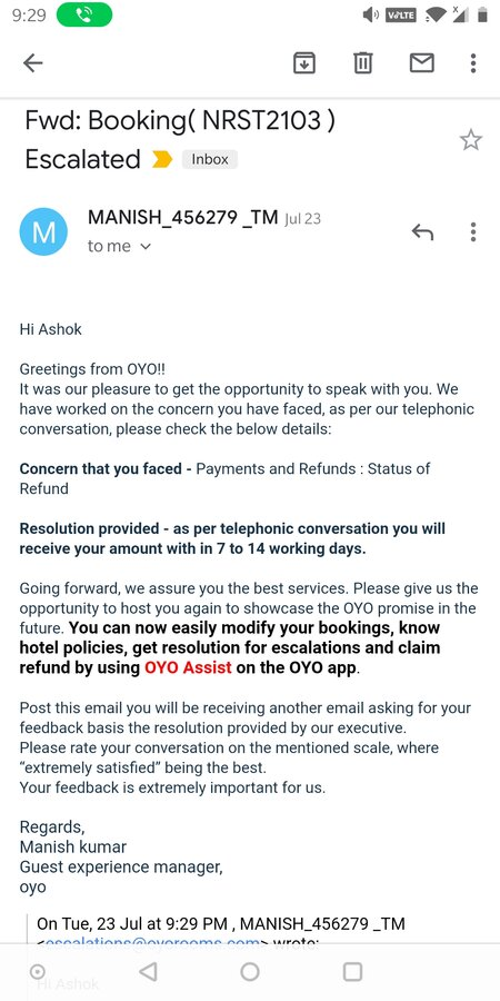 OYO Rooms — not giving refund after the commitment