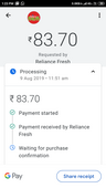 rs. 83.70 not refunded - paid through google pay