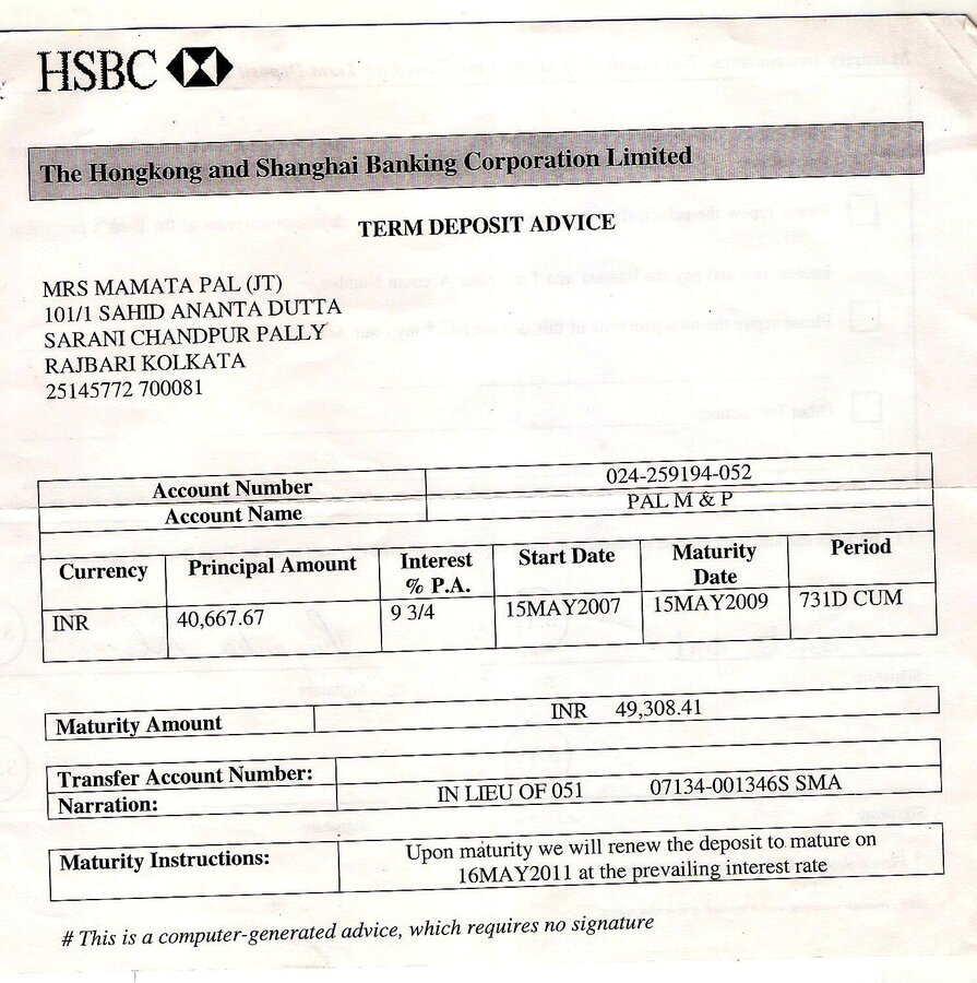 Hsbc Fixed Deposit €� Unaccounted Deduction & Failure To Provide Justifiable  Explanation How To Write