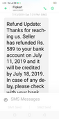 ordered and cancelled crop top. three months ago whis is paid by debit card didn't receive refund 589