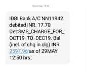debited rupees for sms charge from my bank accounts