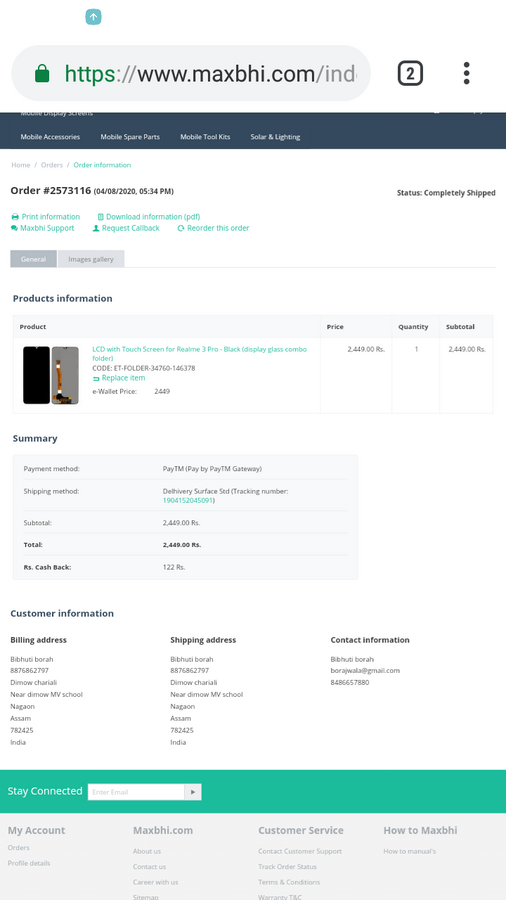 Maxbhi / Elcotek Telecom — I want to cancel my order and