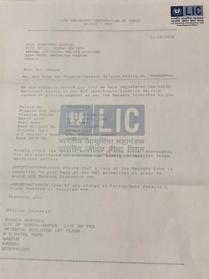Life Insurance Corporation of India LIC — To Reinstate ...