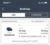 zoomcar refund not received for more than 4 months