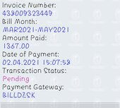 Amount debited but bill payment not success