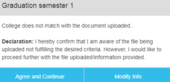 College does not match with the document uploaded..