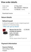 Refund of cancel product