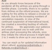 Refund for cancellation