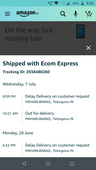 Product not delivered after placing order
