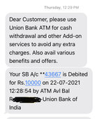 Cash didnt received as I withdrew amount from Canara bank atm