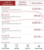 Amount Rs 999deducted by VSI *Amazon ST