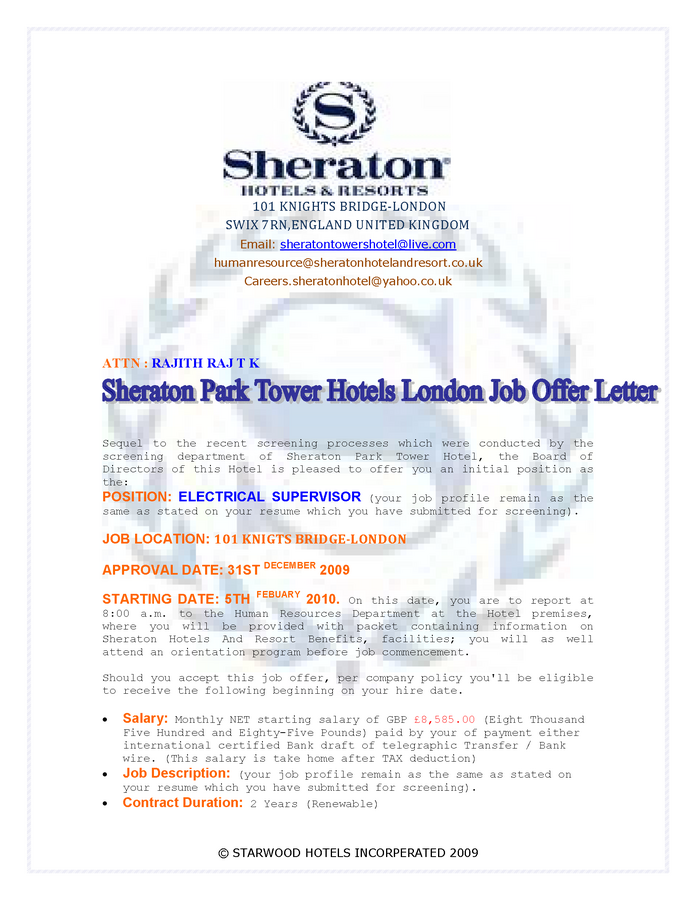 Sheraton park tower hotel london job offer letter thecheapjerseys Choice Image