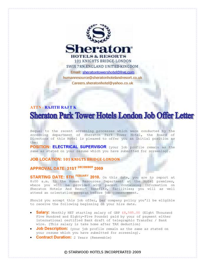 Sheraton Park Tower Hotel London — job offer letter