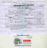 NON REPLACEMENT OF ORIGINAL EXIDE BATTERY