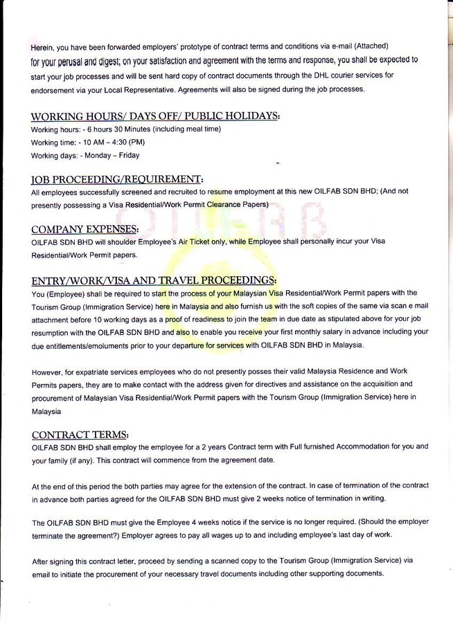 Oilfab sdn bhd malaysia fake appointment letter fake appointment letter spiritdancerdesigns Choice Image