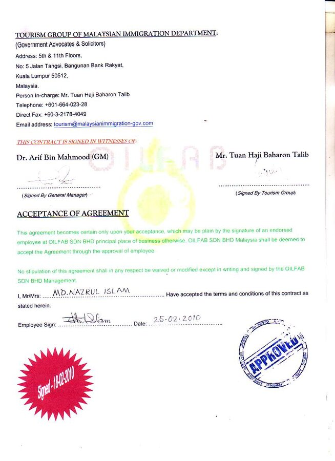 Oilfab Sdn Bhd Malaysia Fake Appointment Letter
