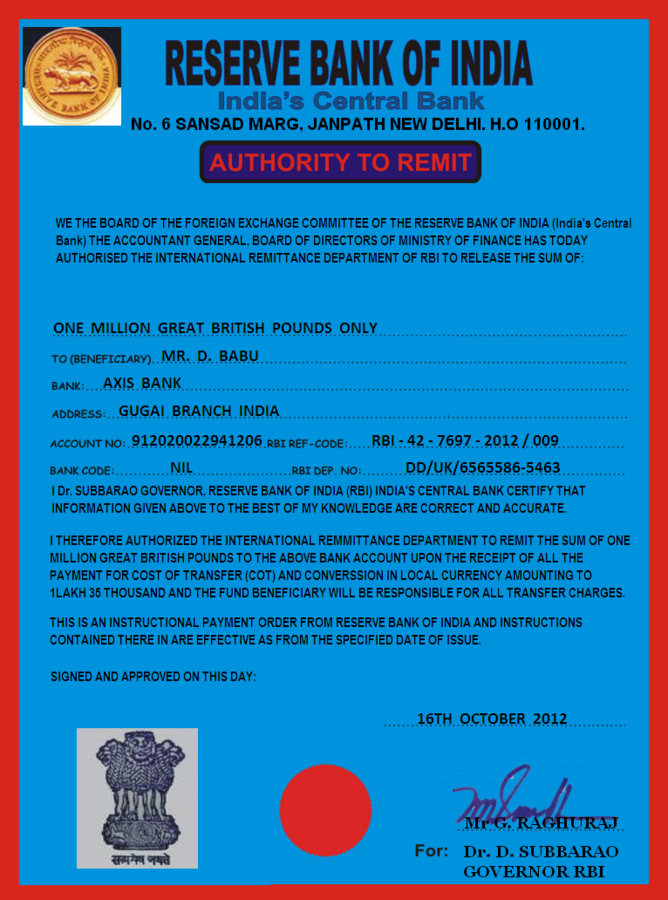 RBI Foreign Remittance Department — About transactions true or not