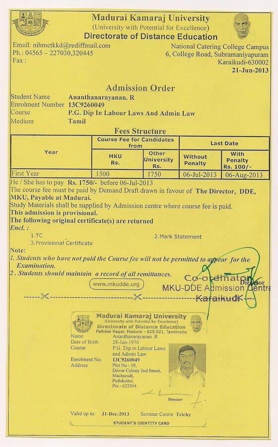 Madurai kamaraj university course completion certificate noc madurai kamaraj university course completion certificate noc not received yadclub Gallery