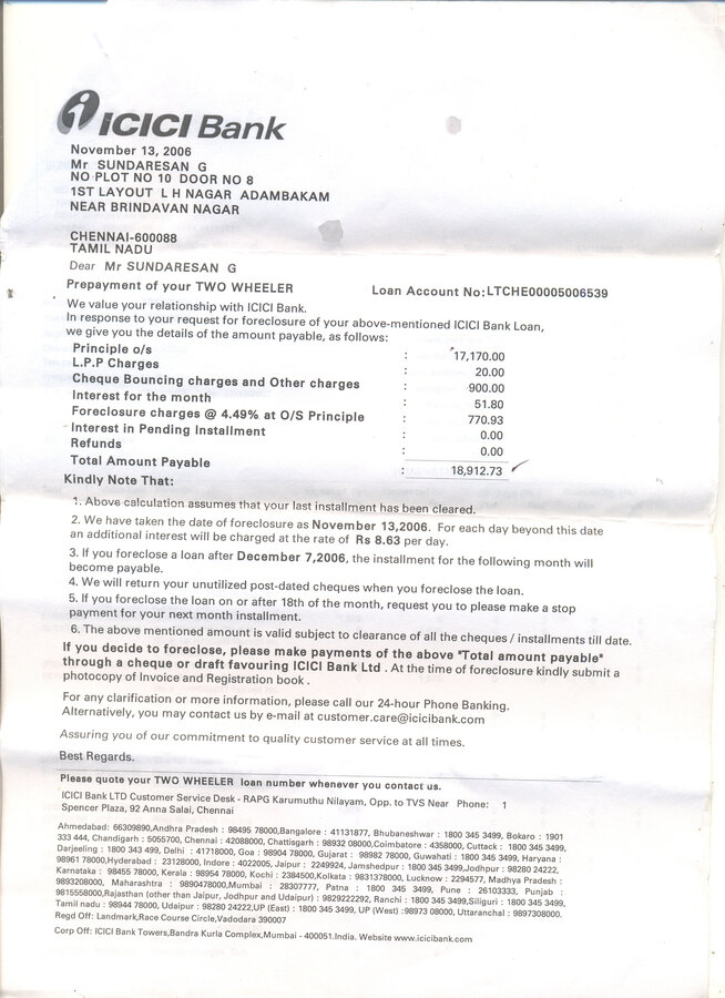 Icici bank two wheeler loan noc reg spiritdancerdesigns Image collections