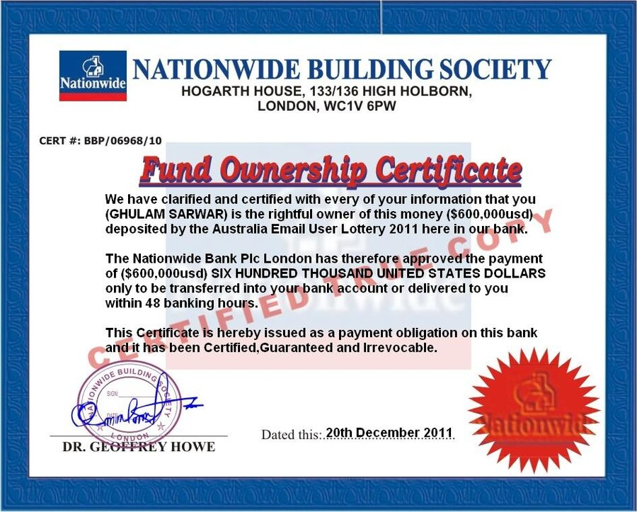 Nationwide Bank Plc London Claim Of Lottery
