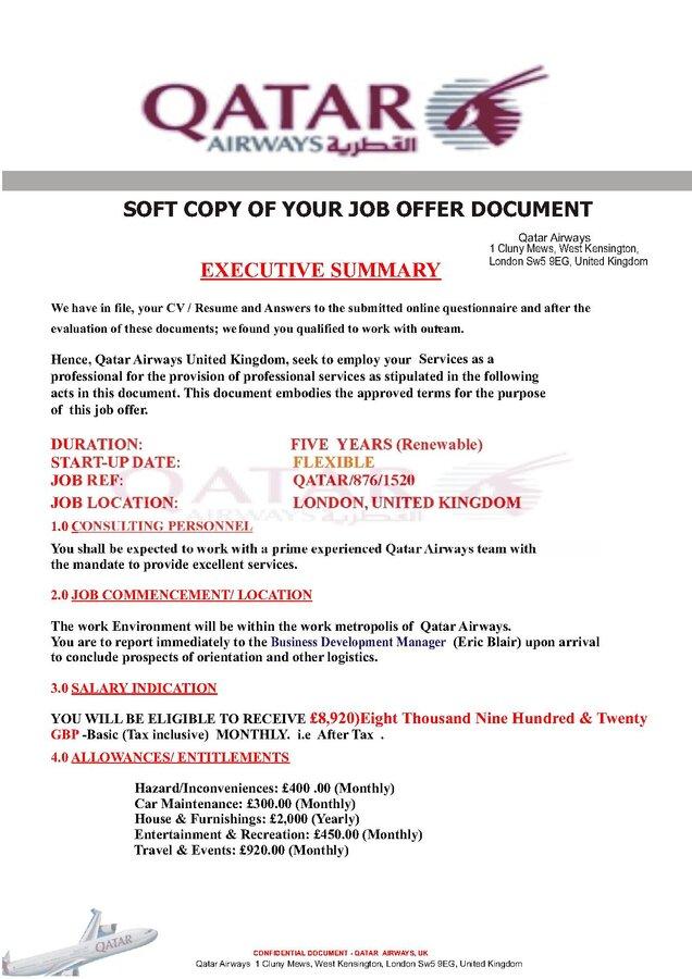 qatar airways fake job offer