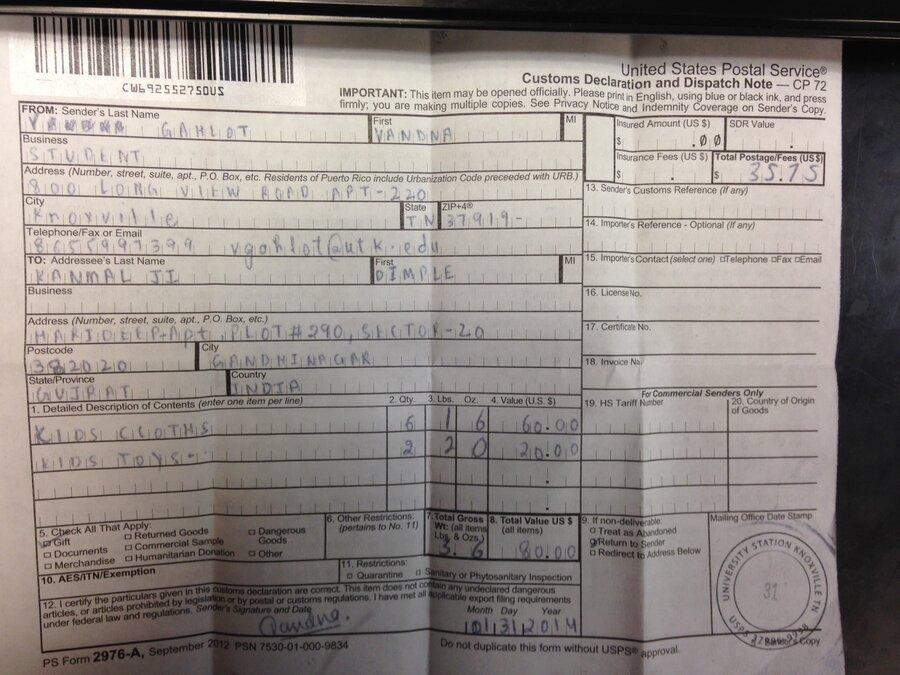 USPS package — USPS Package Stuck In Indian Customs