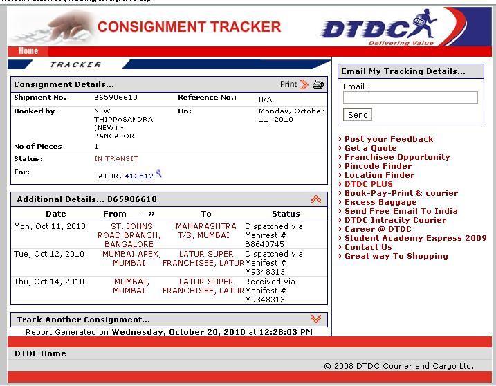 dtdc courier company refuses to deliver the courier till destination