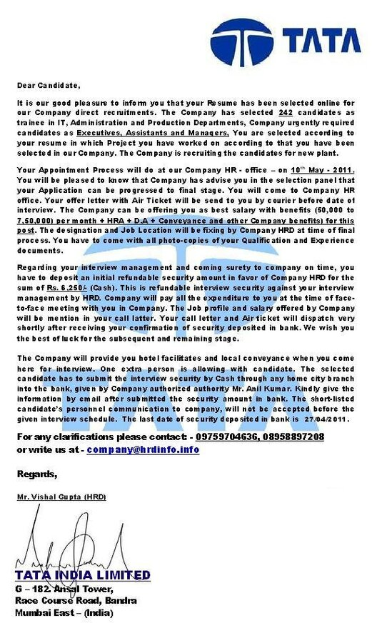 Tata India Limited — Offer Letter for Job