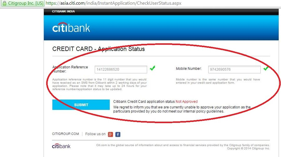 Citibank Credit Card Application Status >> Citibank Credit Card Application