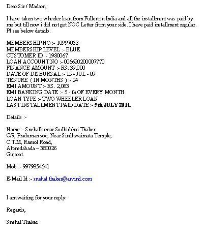 Fullerton India — Two wheeler loan - noc letter