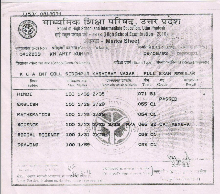 Up Board Allahabad — High School Certificate
